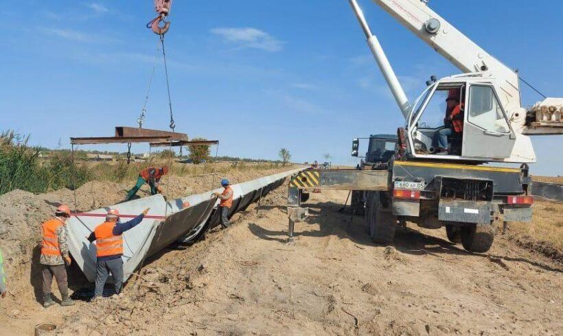 В Жамбылской области ведётся строительство железобетонного канала «Өтеміс».